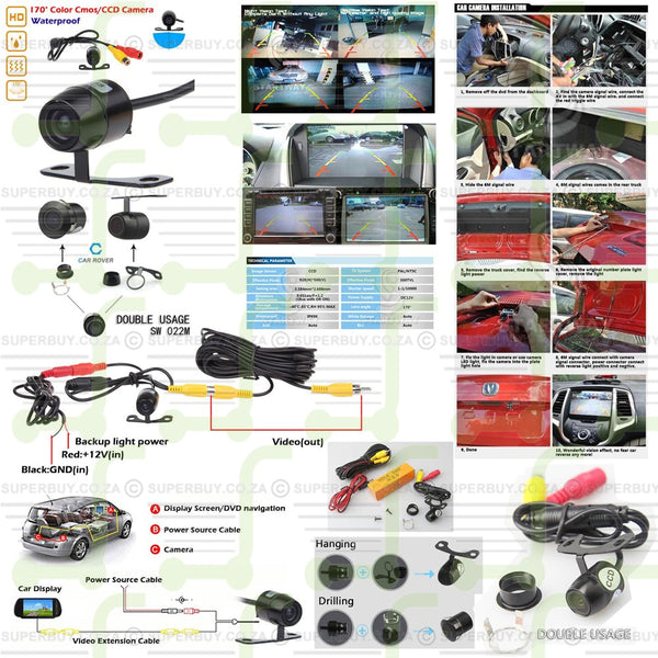 12V Mini Color CCD Reverse Backup Car Front Rear View Camera Night Vision