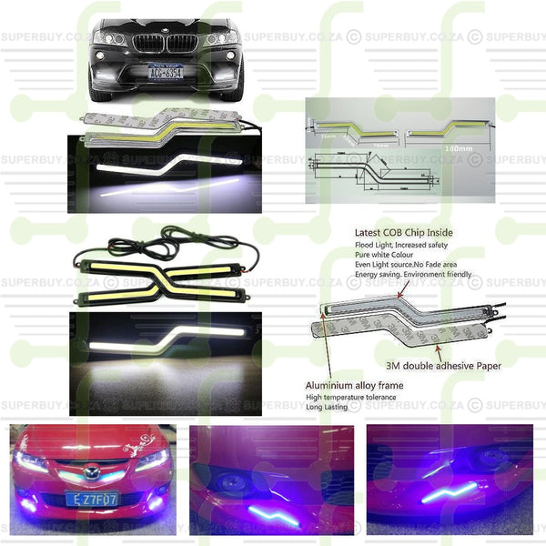 2x 18cm White COB Car Z Type LED Lights 12V For DRL Fog Driving Lamp Waterproof
