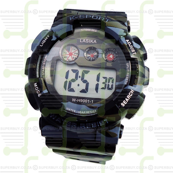 Sports Watch Water Resistant Grey Green