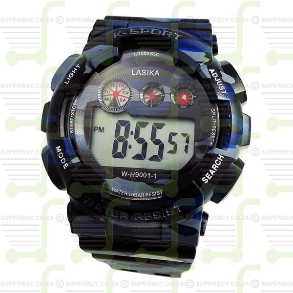 Sports Watch Water Resistant Grey Blue
