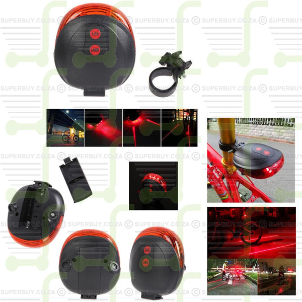 Rear Bicycle Flashing Lamp Bicycle Warning Tail Light 2 Laser + 5 LED