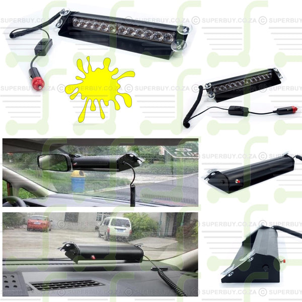 Amber LED Strobe Emergency Flashing Warning Light for Dashboard Car 12 LED