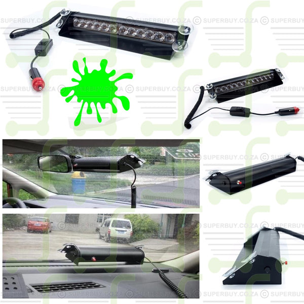 Green LED Strobe Emergency Flashing Warning Light for Dashboard Car 12 LED