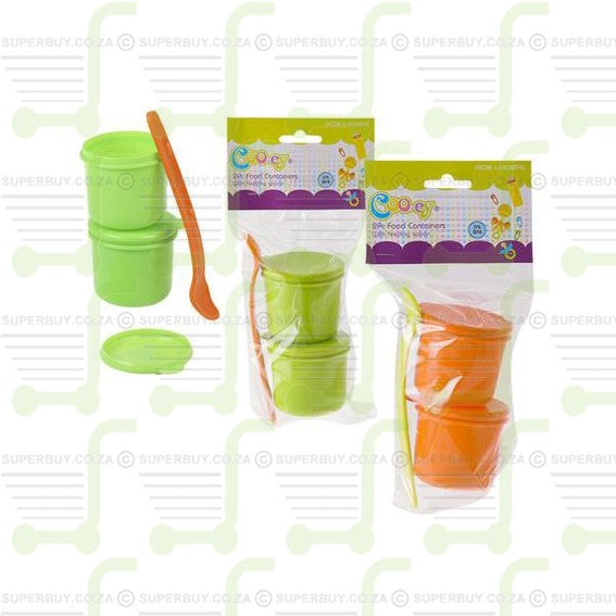 Cooey Baby Food Containers with Lids and Spoon