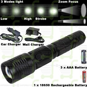 Rechargeable LED Flashlight Torch 3 Mode and Zoom Focus