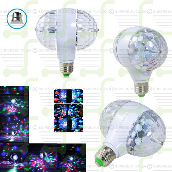 Dual Head Rotating Colorful LED Bulb Crystal Magic Ball Light RGB Stage Lamp Screw E27