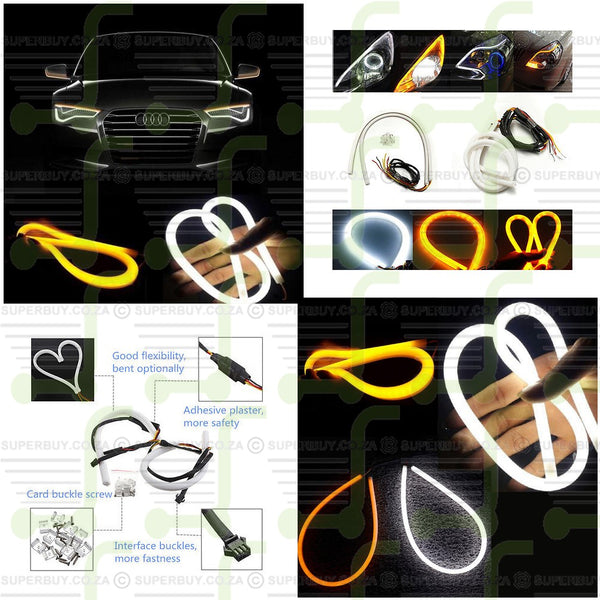 Switchback Headlight LED Strip DRL Daytime Light for Audi Style Tube 2 x 60cm