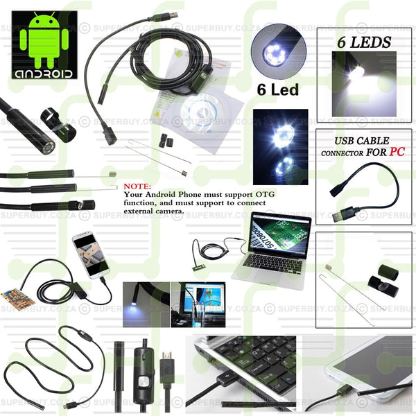 1M 6 LED USB Android Endoscope Borescope Tube Snake Camera for PC and Andorid 7mm