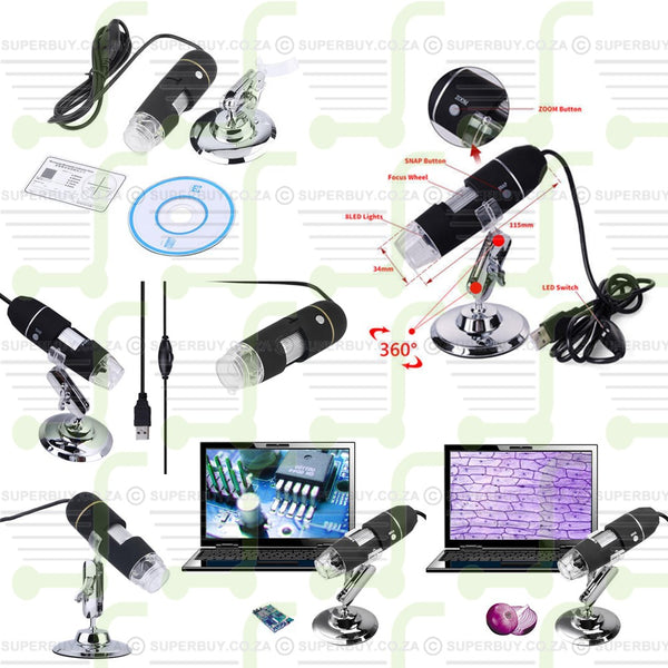 2MP 500X 8 LED USB Digital Microscope Endoscope Zoom Camera Mganifier with Stand