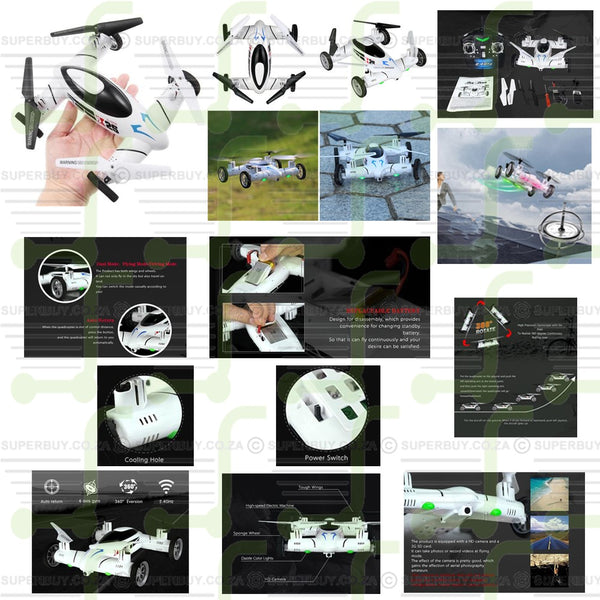 Land and Sky 2 in 1 X25 2.4G RC Quadcopter Drone UFO Road Runner RTF 2MP Camera