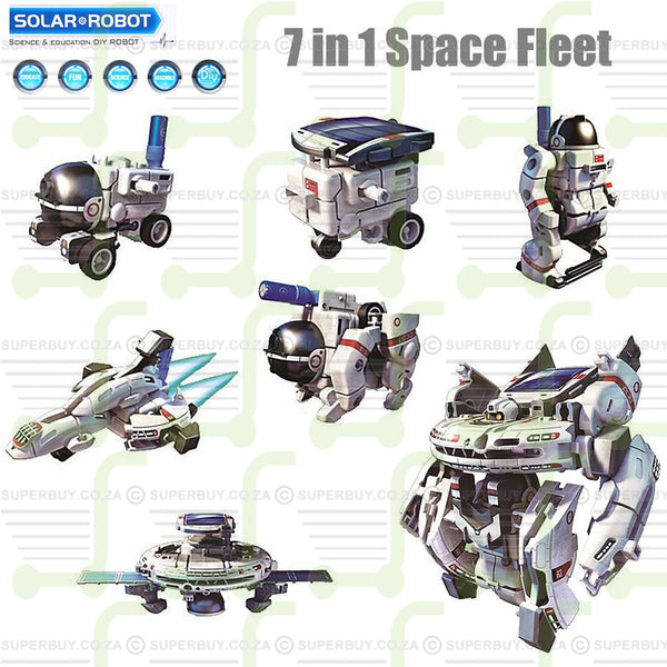 DIY Solar Robot Educational Building Toy Assembly Kit 7 in 1 Space Fleet