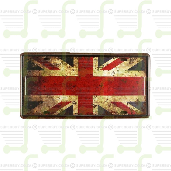 Retro Antique Style Number Plate Type Novelty Sign Plate Decor - British Flag