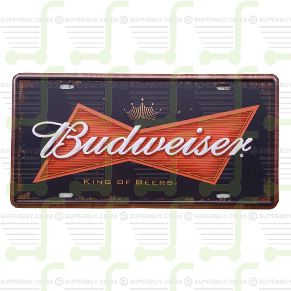 Retro Antique Style Number Plate Type Novelty Sign Plate Decor - Budweiser