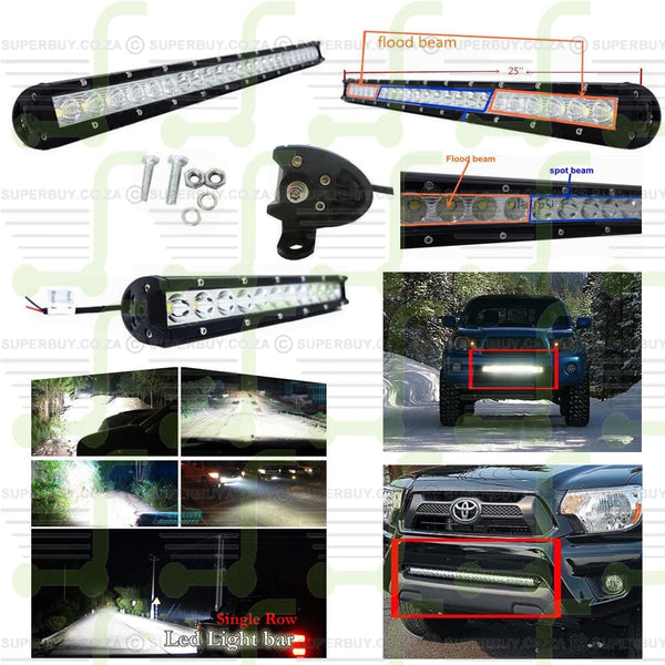 24 LEDs 25 Inch 120W Single Row 5W CREE LED Light Bar Flood and Spot Beam