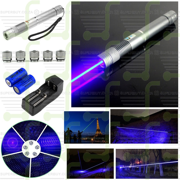 High Power V1 Fire Blue Laser Pointer Pen Military Beam Adjustable Focus + 5 Caps