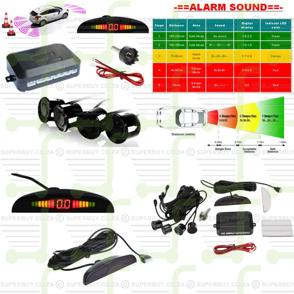 Parking Sensors Car Reverse Backup Rear Radar System Kit Sound Alert Alarm 4 Pieces
