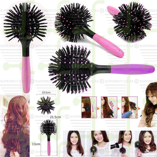 3D Styling Curls Hair Brush Heat Resistant Detangling Comb Ball Salon Blow Drying Hairstyle
