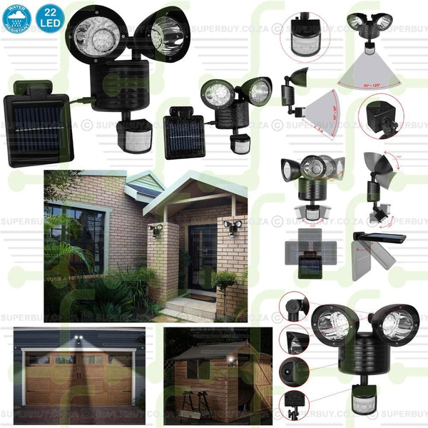 22 LED PIR Motion Sensor Dual Solar Outdoor Security Spot Light
