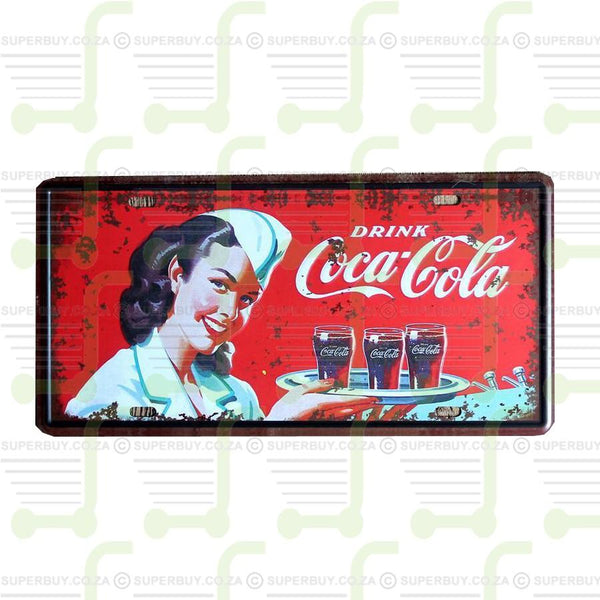 Antique Style Number Plate Sign Plate Pub Decor - Drink Coca Cola