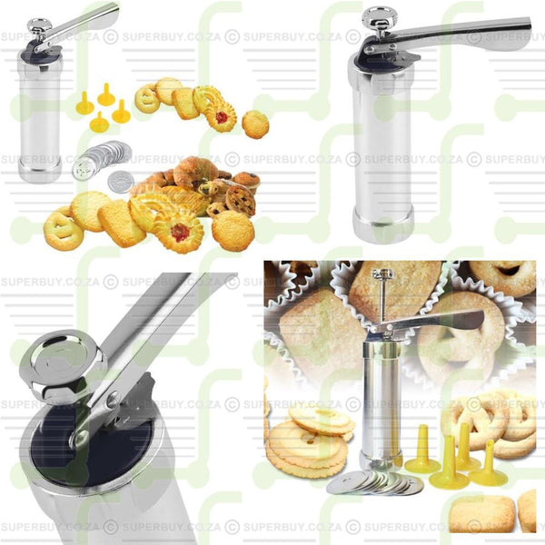 Biscuit Cutter Cookie Press Maker Pump Press Machine 10 Moulds with 4 Nozzles