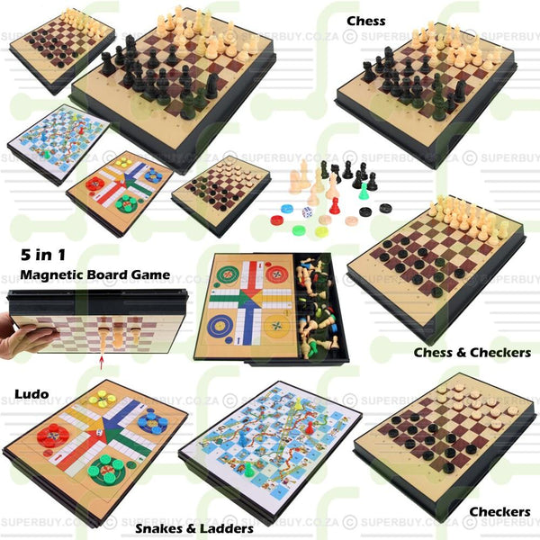 5 in 1 Chess Set Magnetic Compendium Games in Portable Compact Case (17.5cm x 24cm)