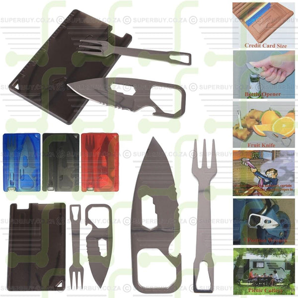 Outdoor Survival On The Go Credit Card Knife Fork Eating Tool Multifunction Camping Set
