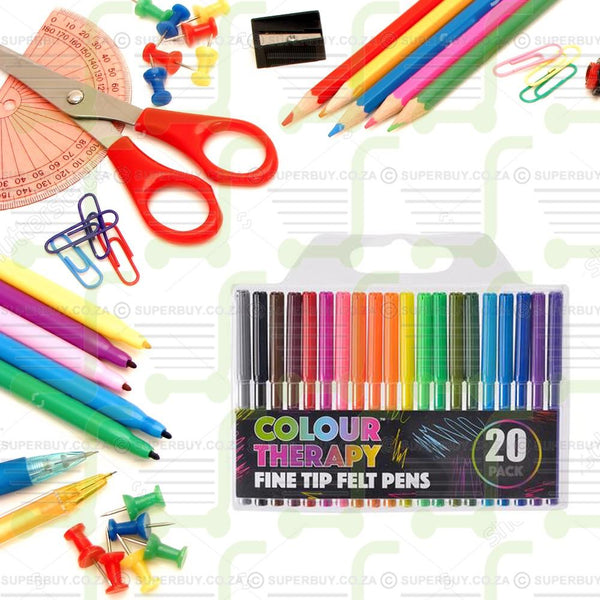 Colour Therapy Fine Felt Tip Pens Pack of 20