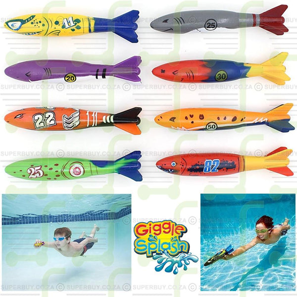 Dive Underwater Torpedo Rockets Swimming Pool Toy Pack of 4