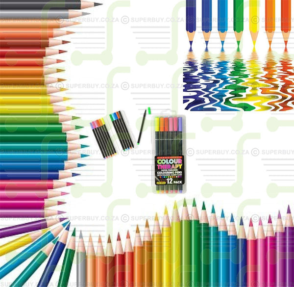 Colour Therapy Super Fineliner Colouring Pens with Folding Carry Case - 12 Pack