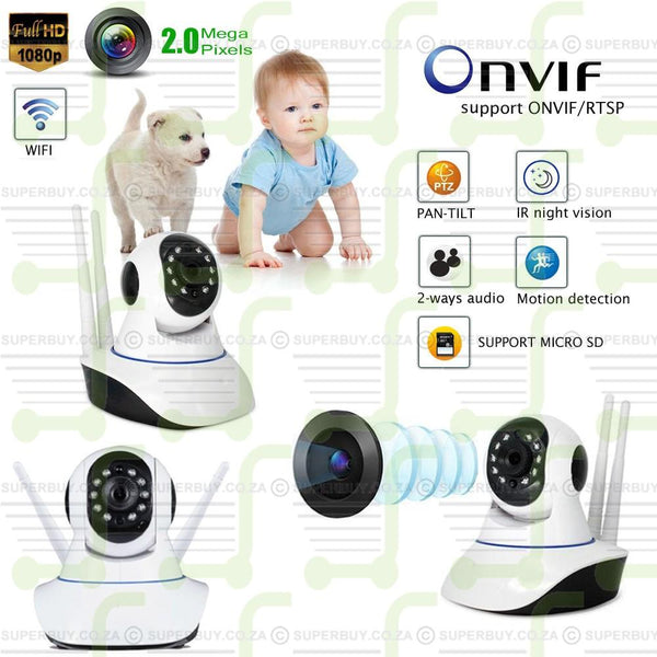 WiFi HD IP Camera 1080P Baby Monitor Wireless OnVif Network Security Dual Antenna Camera P2P