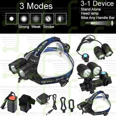 1800LM CREE V3 XM-L T6 X2 Rechargeable Multi Fuction 2 LED Headlight Headlamp / Bike Torch / Stand A