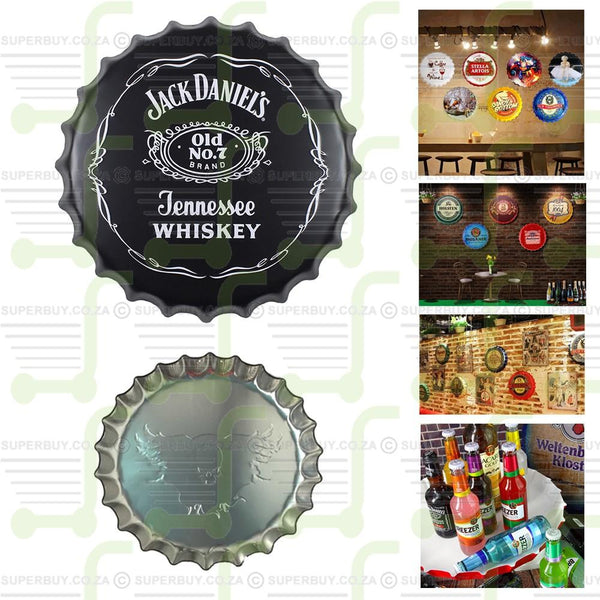 Jack Daniels Tennessee Whisky 35cm V1 Round Embossed Retro Style Bottle Cap Tin Sign Wall Decor