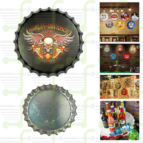 Round Embossed Retro Style Bottle Cap Shaped Tin Sign Decor - Harley Davidson Biker To The Bone