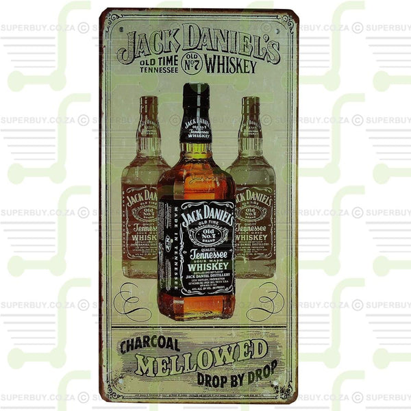 Antique Style Retro Number Plate Sign Plate Pub Decor - Jack Daniels Charcoal Mellowed Drop by Drop