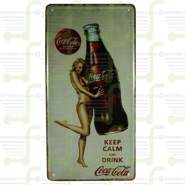 Antique Style Retro Number Plate Sign Plate Pub Decor - Keep Calm and Drink Coca Cola
