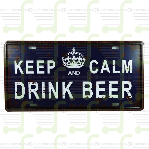 Antique Style Retro Number Plate Sign Plate Pub Decor - Keep Calm and Drink Beer
