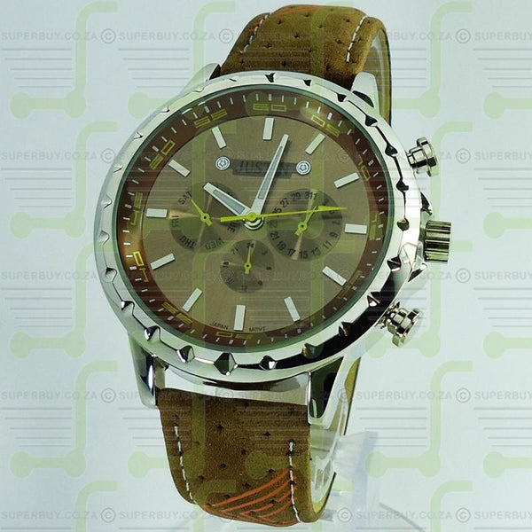 Mens Watch Tan Strap Tan Face Yellow Silver Markers