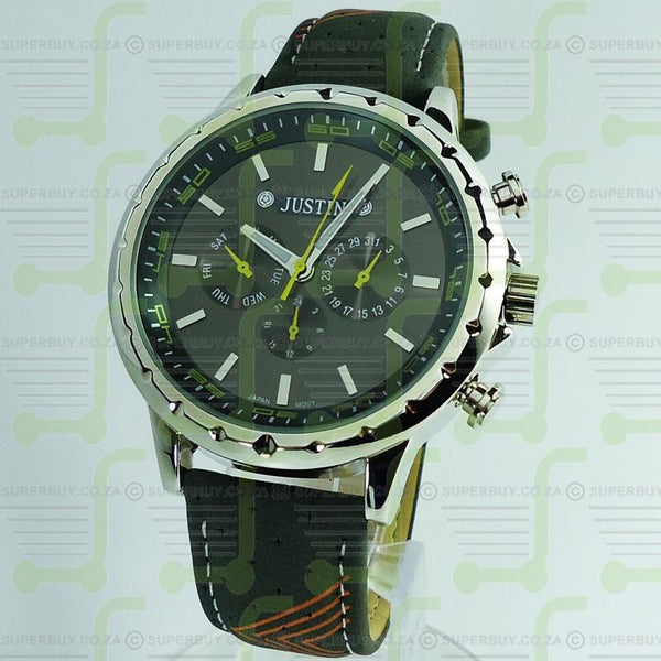 Mens Watch Grey Strap Grey Face Yellow Silver Markers