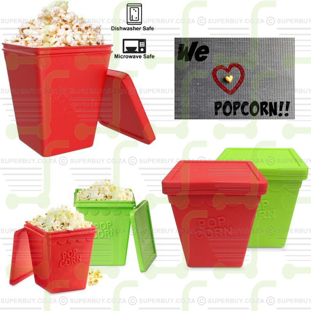 Microwave Popcorn Popper Maker Squared Bowl with Lid