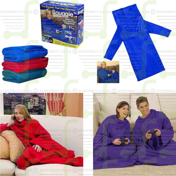 Snuggie Super Adult Soft Fleece Blanket with Sleeves
