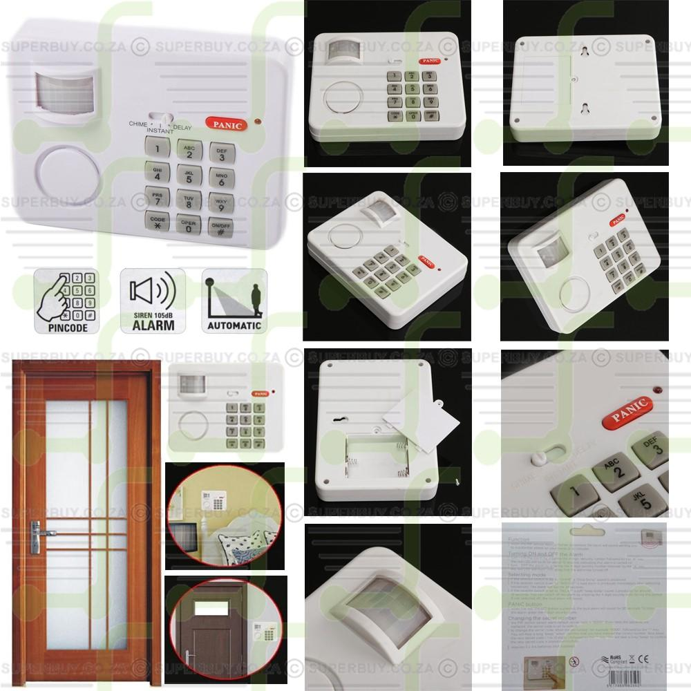 PIR Wireless Motion Sensor Keypad Alarm with Panic Button for Home Security Doors Garages Sheds