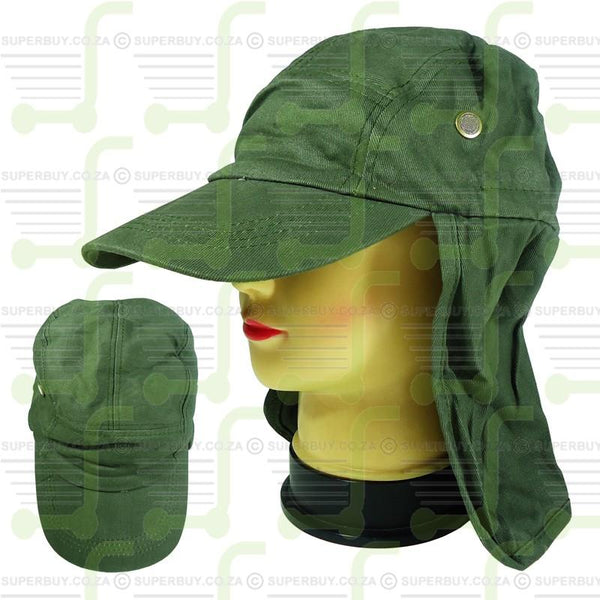 Superior Quality Cap with Sun Flap for Ears and Neck - Army Green