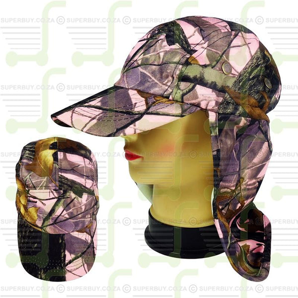 Superior Quality Cap with Sun Flap for Ears and Neck - Real Tree Camo Pink