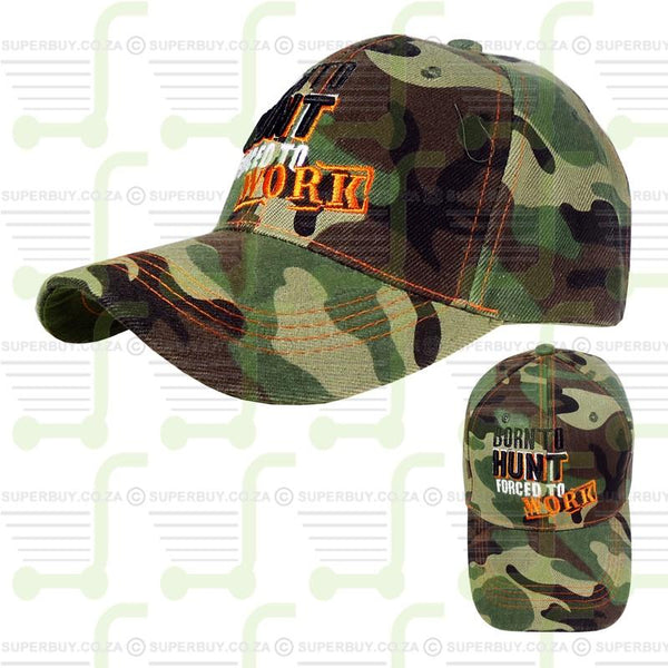 Superior Quality Cap Hunting Cap Woodlands Camo - Born To Hunt Forced To Work