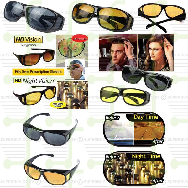 HD Vision Wrap Around Driving Sunglasses Black & Yellow Day & Night Unisex Glasses Set