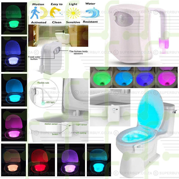 8 Color Change Automatic Body Motion Sensor Seat LED Light Toilet Bowl Bathroom Lamp