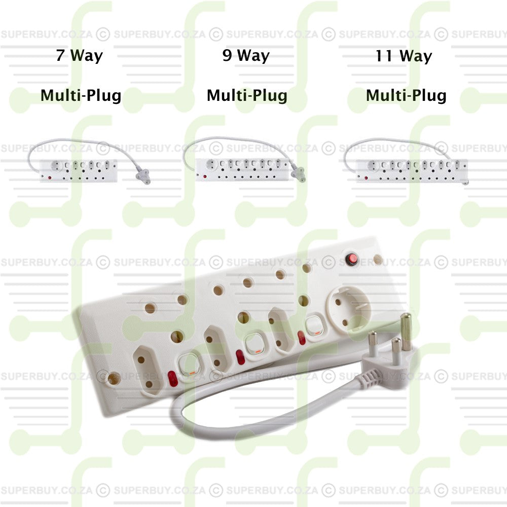 7 Way Multi-Plug Adapter with Illuminated Switches