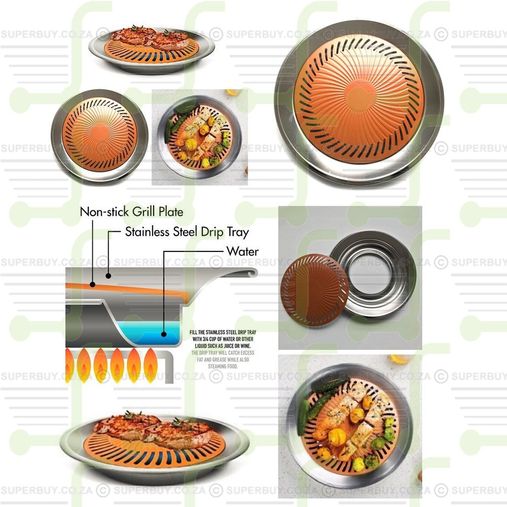 Non-stick Smokeless Stove Top Grill Plate