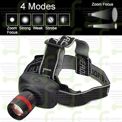 4 Mode Zoom Focus LED Super Bright Headlight Headlamp v1