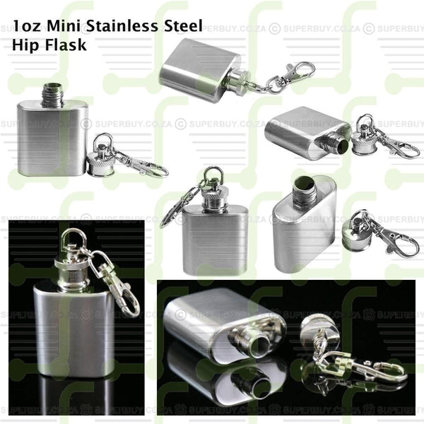 Portable Stainless Steel 1oz Hip Flask Keyring